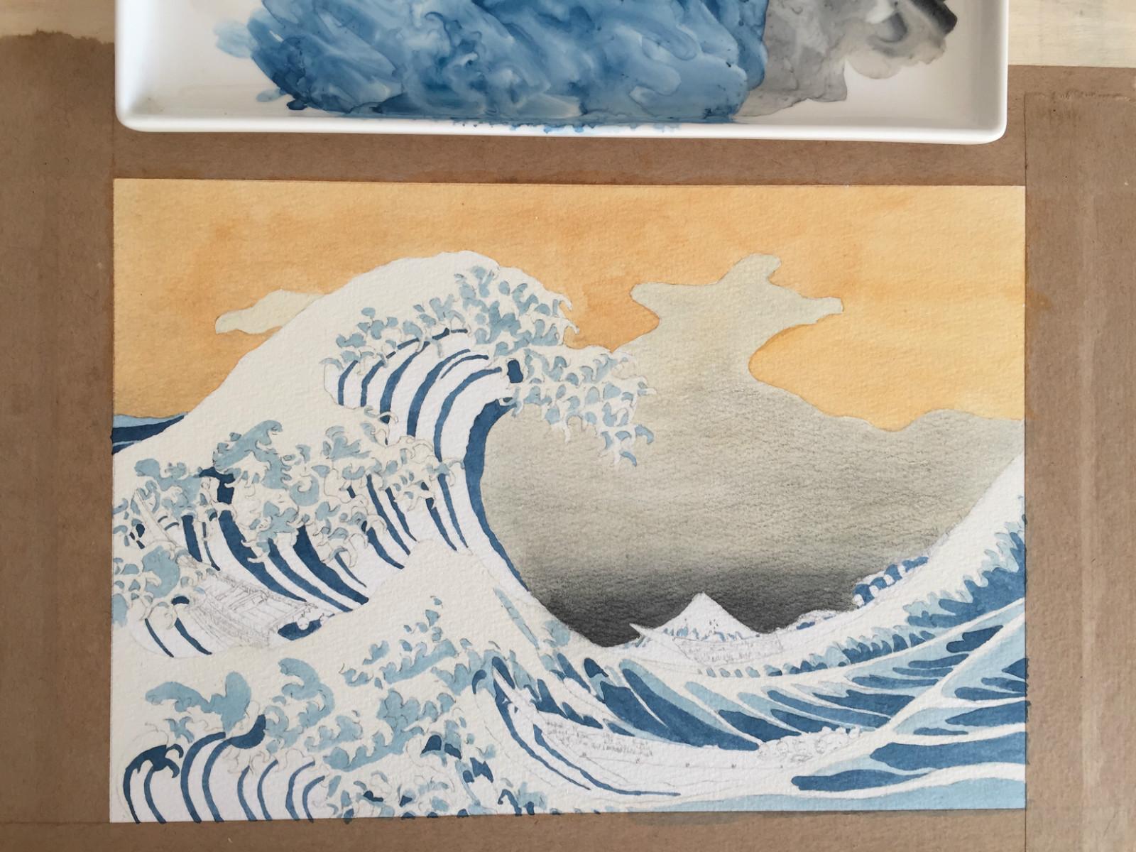 水彩· 教程   临摹《神奈川冲浪里》